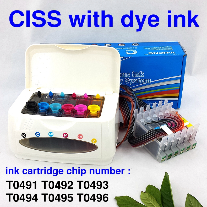 ФОТО CISS ink cartridge chip number T0491-T0496 Continuous Ink Supply System for printer R200 R210 R220 R230 R300 R320 R340 R350
