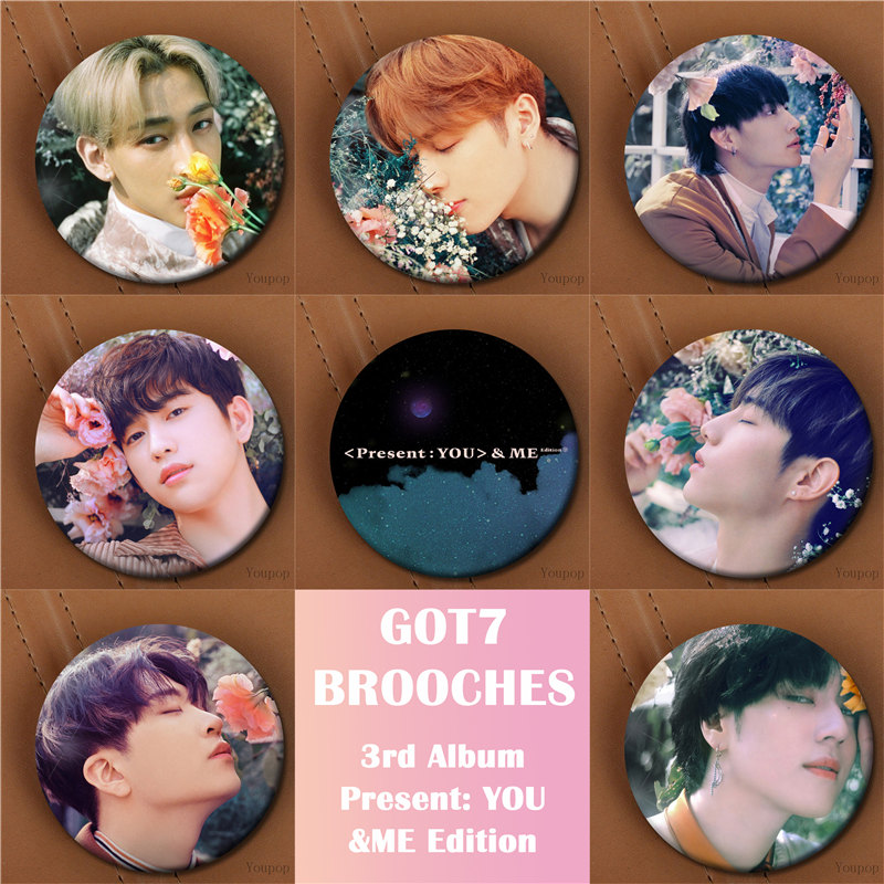 Youpop KPOP GOT7 3rd Album Present You &Me Edition JINYOUNG ME Brooch Pin Badge Accessories For Clothes Hat Backpack Decoration calvin klein logo eyewear