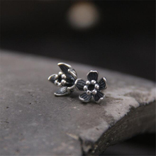2018 Pure 925 Sterling Silver Black Thai Bloom Flower Floral Stud Earrings For Women Original Jewelry Lady Gift 8.5mm