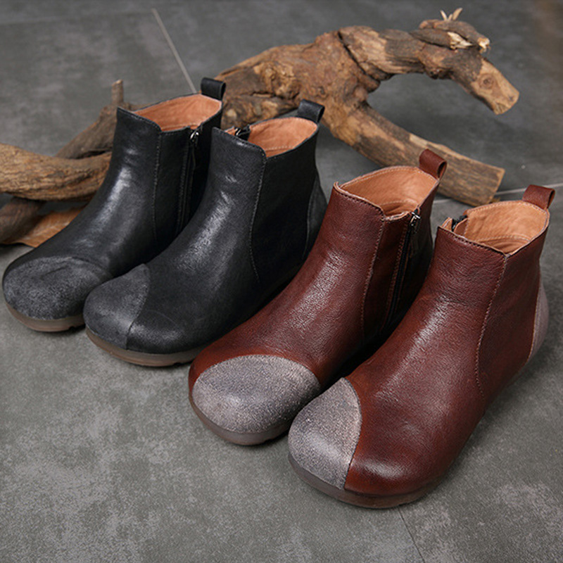 Autumn and winter new literary leather retro women's boots round head soft bottom patch flat handmade casual shoes huizumei new genuine leather women s boots autumn and winter shoes retro handmade round toe soft bottom rubber ankle ladies boot