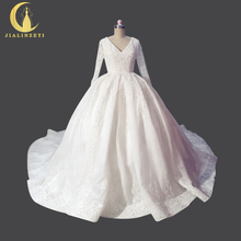 Rhine Real Sample Image Sexy V Neck Long Sleeves Lace Chapel Train Open Back vestido de noiva New Bridal Wedding Gown
