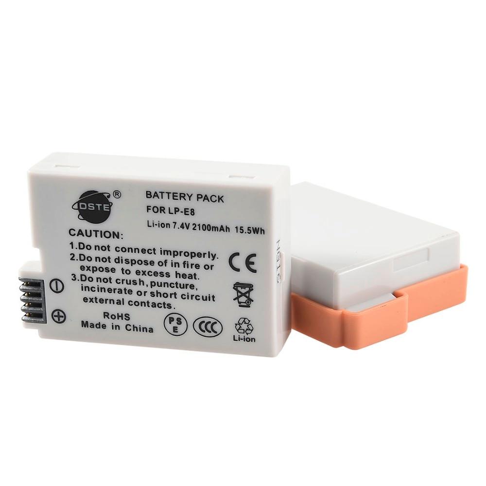 DSTE 2 piezas LP-E8 lp-e8 Cámara batería para CANON 550D 600D 650D 700D X4 X5 X6i X7i T2i T3i T4i t5i