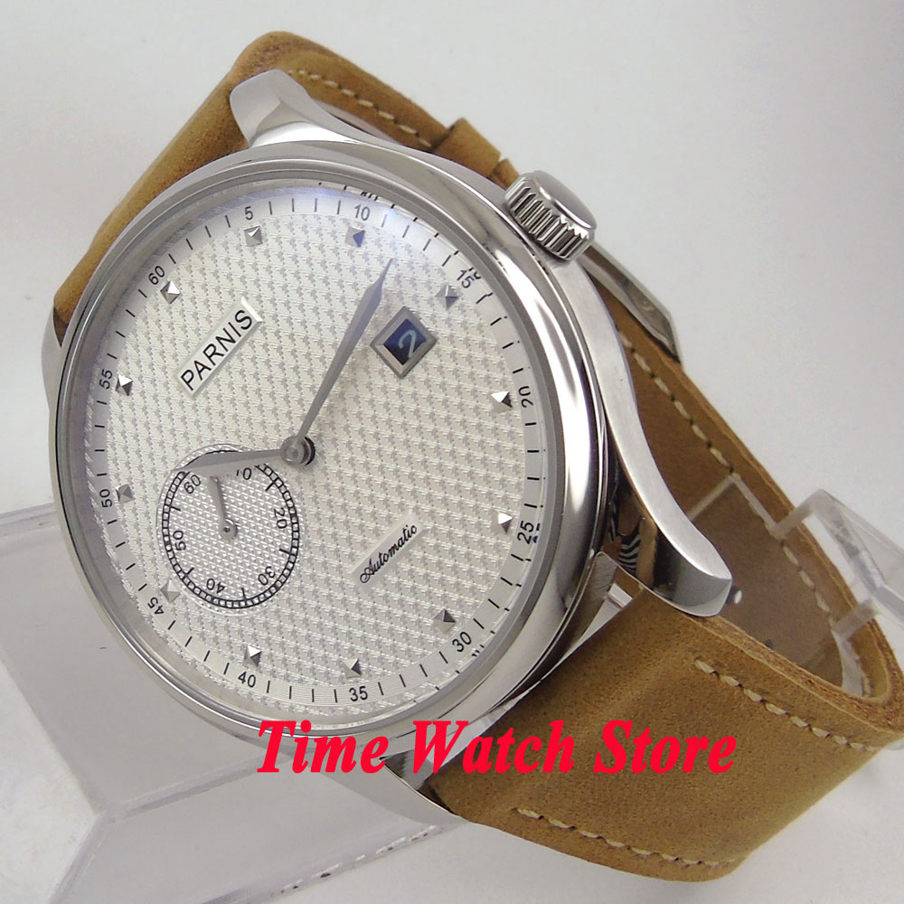 Parnis 43mm white dial silver hands date window ST Automatic movement men's watch men 684 free shipping 43mm parnis polit dial silver numbers automatic men s watch pa4316sb