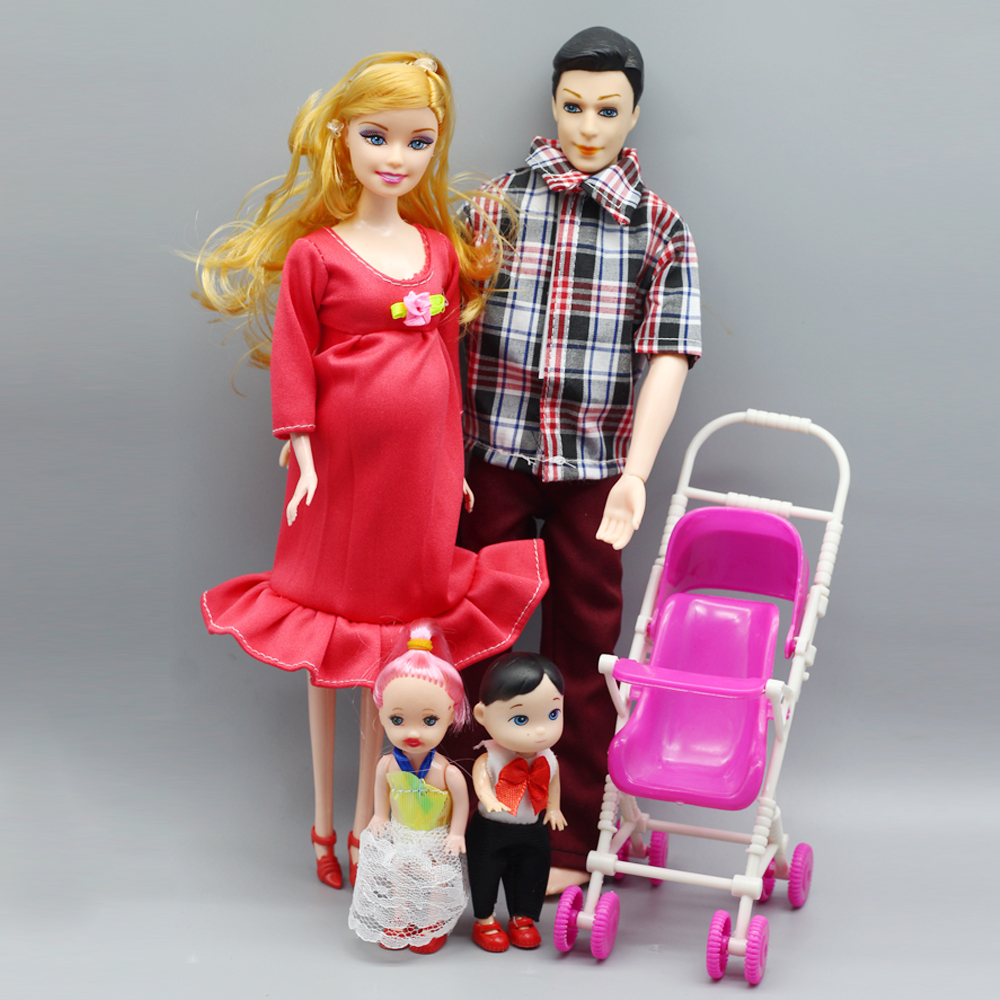 Family 5 People Dolls Suits 1 Mom/1 Dad/ two baby/1 Baby Carriage for Girl 1/6 doll,Real Pregnant Doll Kid Gift ToysDolls & Stuffed Toys