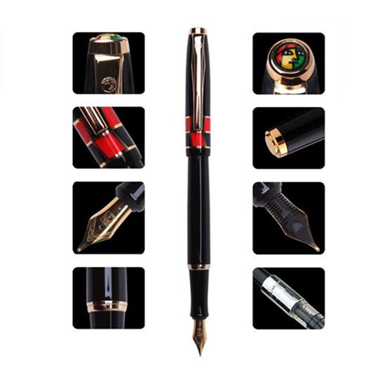 1pc/lot Picasso 923 Fountain Pen Black Pen Gold Clip 0.5mm Metal Iraurita School/Office Supplies Canetas Brand Pen 13.9cm hero 285 smooth black and gold clip calligraphy pen 0 8mm curved tip metal fountain pen with original gift case office supplies