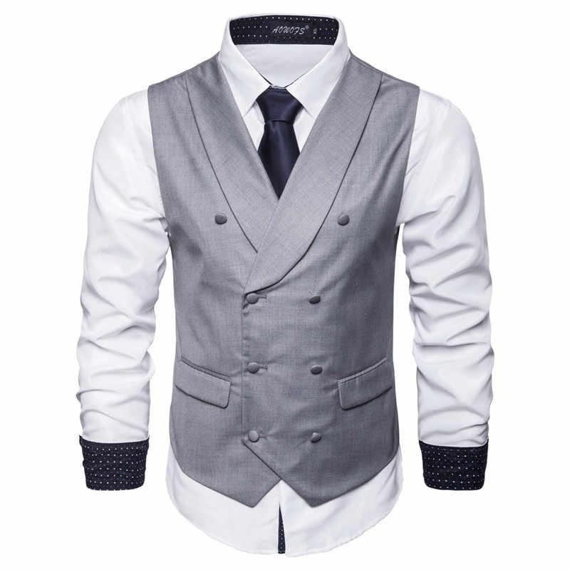 S-6XL 新メンズ綿ブレンドビジネススリムスーツベストカジュアルのためのソリッドカラーのダブルブレスト男性グレー黒青