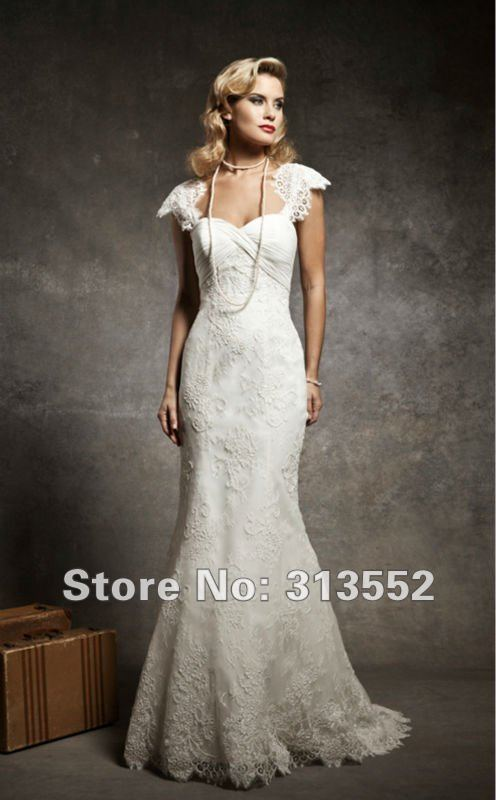 Vintage 1920s inspired cap sleeve mermaid lace wedding for Vintage wedding dresses 1920s