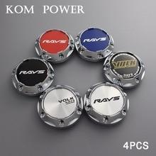 KOM 64mm wheel trim hub cap / 56mm clip volk sign sticker center racing rims auto modified set of 4pcs plastic & chrome