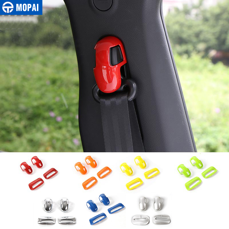 MOPAI ABS Car Interior Seat Safety Belt Decoration Trim Cover Stickers For Jeep Renegade 2015-2018 Car Styling