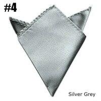 5pcs/Lot Gentlemen Solid Pocket Squares Uniform Satin Handkerchief (Silver Grey)