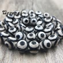Faceted Round Vintage Crackle Evil Eye Agates Tibetan Beads,Black&white Antique Prayer Mala Stone Beads MY0365 цена 2017