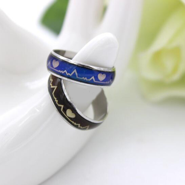 Mood Ring Changing Color Heartbeat Ring ECG Ring Colorful Discoloration Couple R