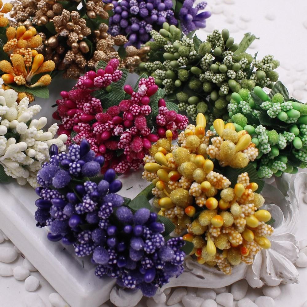 16 12pcs Berry Artificial Stamen Handmade Flower For Wedding Home Decoration Pistil DIY Scrapbooking Garland Craft Fake Flower 2