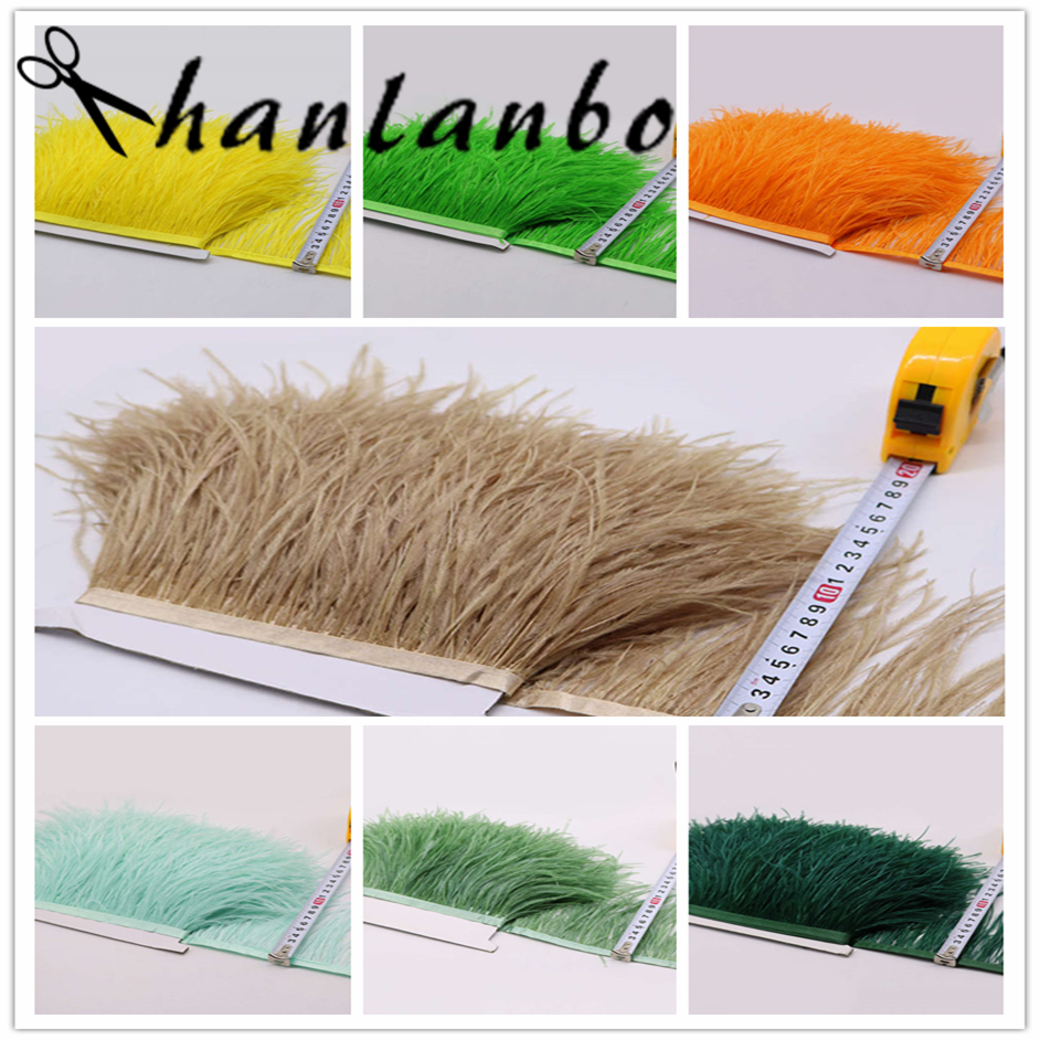 10yards/lots green and orange Long Ostrich Feather Plumes Fringe trim 10-15cm Feather Boa Stripe for Party Clothing Accessories