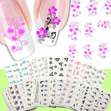 Shellhard 50 Sheets Mixed Styles Flower Nail Art Stickers Fashion Nail Art Tips Decals For Lady Beaty Nail Art DIY