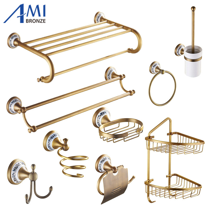Antique Brushed Copper & Porcelain Bathroom Hardware Towel Shelf Towel Bar Paper Holder Cloth Hook Bathroom Accessories BS04 81cp series chrome polished porcelain bathroom accessories bath hardware towel shelf towel bar paper holder cloth hook