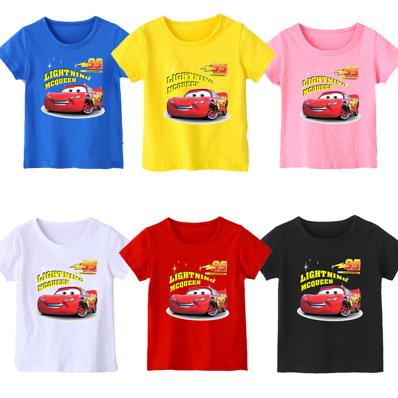 2020 New Summer 95 Cars Boy T Shirt Cotton Short Sleeve T-shirt Print Children's Cartoon Kids Girls Child's Clothes