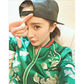 2016 autumn new ladies  star with the paragraph green satin embroidery flower baseball  short jacket