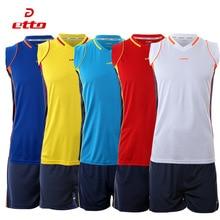Etto New Breathable Men Volleyball Jersey Suit Sleeveless Training Clothing Sport Set Volleyball Team Uniforms Voleibol Jerseys