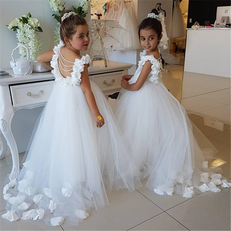Vintage Flower Girl Dresses For Weddings Blus white Custom Made Princess Tutu Sequined Appliqued Lace Bow