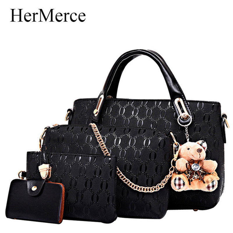 HerMerce 4 Bags Set Luxury Handbags Women Bags Designer Shoulder Bags Female Bag Women Leather Handbags Bolsa Feminina 7305 ludesnoble luxury handbags women bags designer bag women leather handbags shoulder bag female bags set bolsa feminina sac a main