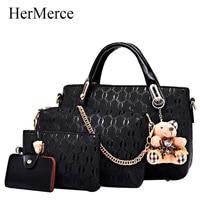 HerMerce 4 Bags Set Luxury Handbags Women Bags Designer Bag Female Bags Shoulder Bags Women Leather