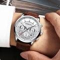 Роскошные мужские часы с кожаным ремешком  мужские повседневные часы с хронографом  Кварцевые водонепроницаемые часы  мужские наручные час...