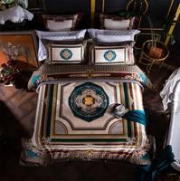 Европа Геометрическая постельных принадлежностей для взрослых, полный королева король Хлопок Винтаж барокко двойной домашний текстиль пр