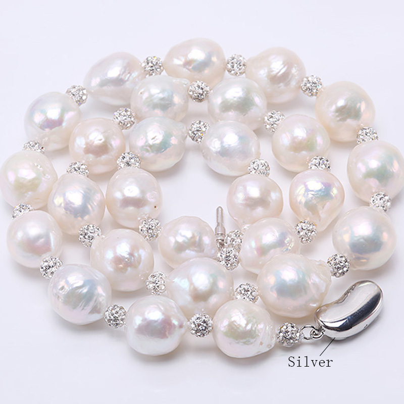 JYX Baroque Pearl Necklace White Freshwater Cultured Baroque Necklace Party Wedding Jewery Gift AAA 20-24 baroque