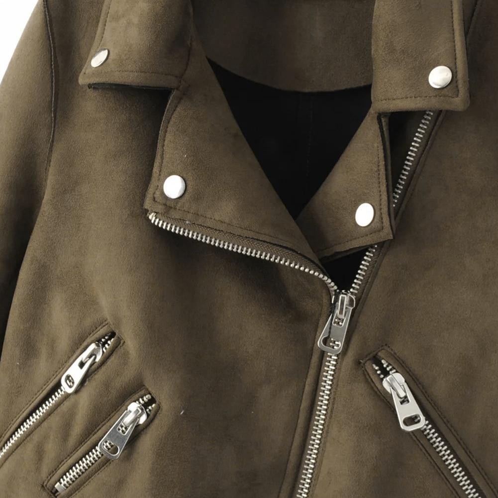 e279cd5a6b1 Women Zipper basic Suede Jacket Coat Casual Long Sleeve motorcycle ...