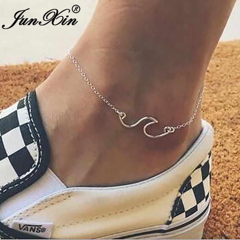 JUNXIN מינימליסטי חוף אוקיינוס גל Anklets נשים כסף זהב צבע דק שרשרות קסם יחף קרסול צמיד רגל תכשיטים