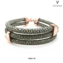 925 Silver Bracelet Men Bracelet Smoky Grey Stingray Leather Bracelet Fit Watch Christmas Gift For B-Boy Sterling Silver Jewelry