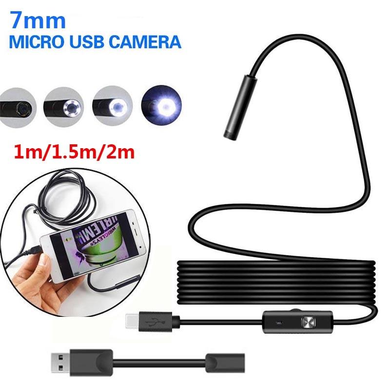 Herzhaft 7mm 2 M Endoskop 2 M 6led Endoskop Kamera Android Wasserdichte Pipeline Pcb Pc Inspektion Mini Kamera Endoskope Werkzeuge