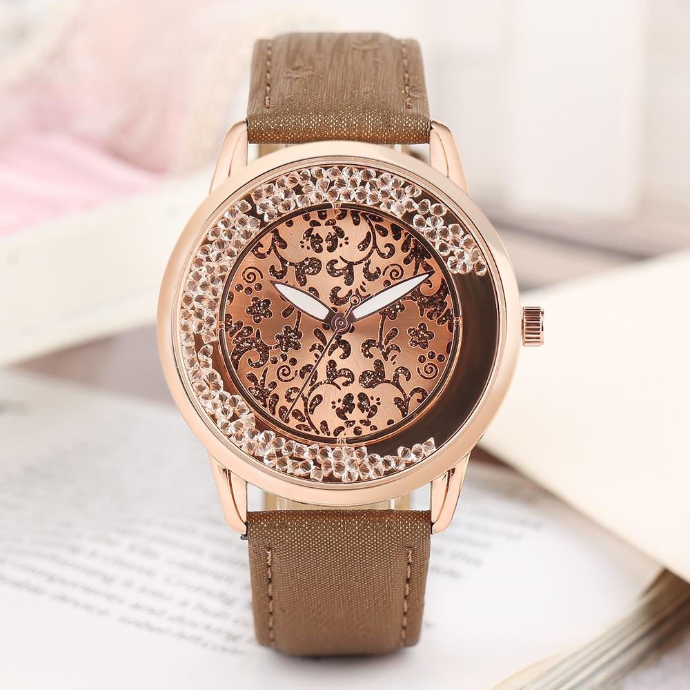 Modern Carved Flower Wrist Watch Dark Blue Printing Pattern Leather Band Quartz Watches For Elegant Ladies Fashion Women Reloj napapijri guji check dark blue