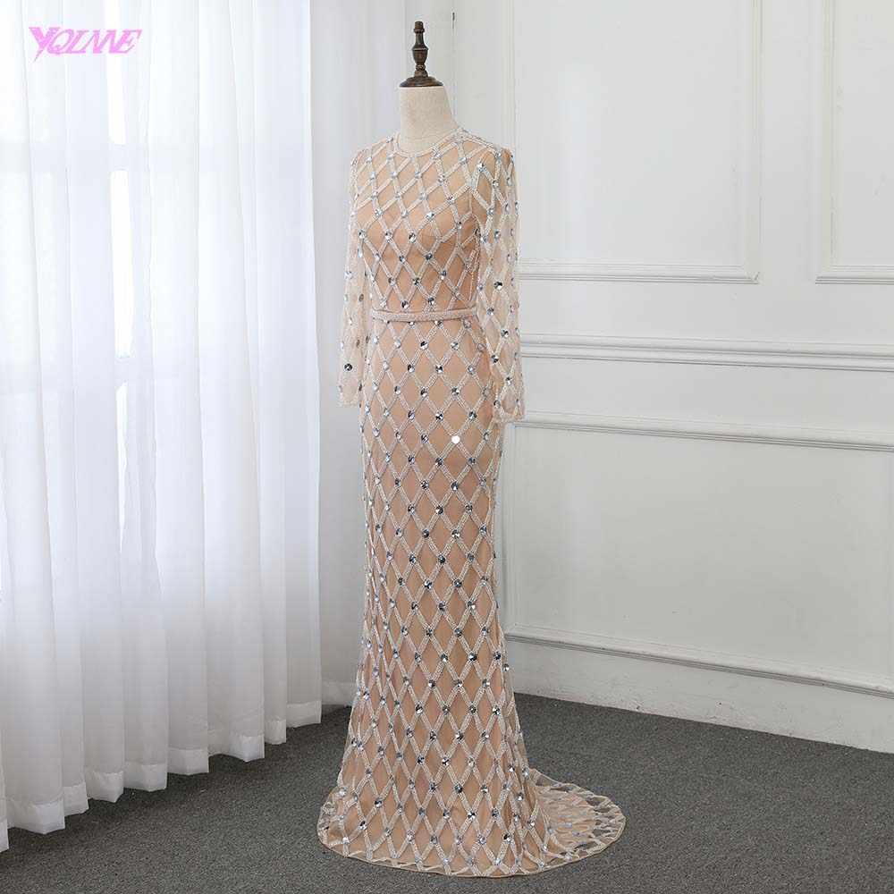 Роскошные Кристаллы Русалка вечернее платье с длинным рукавом Robe De Soiree вечернее платье Формальные платья