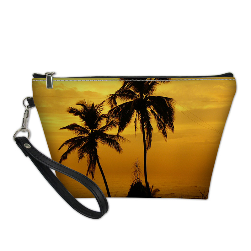NOISYDESIGNS designer cosmetic bag Cases Women Travel Cosmetic Bag 3D Palm Pattern Teena ...