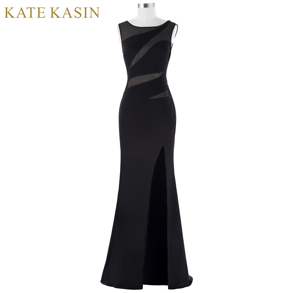 Kate Kasin Bodycon Long Black Evening Dresses 2017 Sexy Slit Lace Formal Dress See Through Party