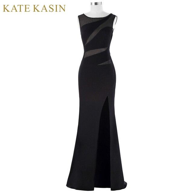Kate Kasin Moulante Longue Noir Robes De Soirée 2018 Sexy Fente dentelle  Formelle Robe Voir À