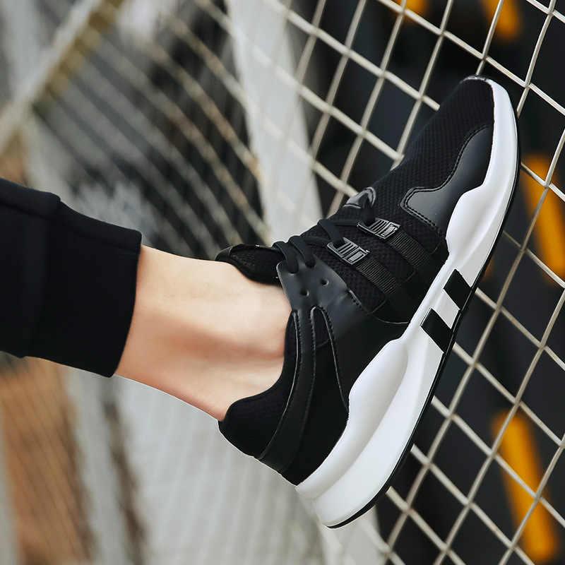 男性の夏のカジュアルシューズファッションストライプ白黒スニーカーテニストレーナー通気性の快適なフラット男性 2019