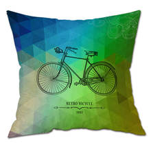 Abstract Bike Cartoon Cotton Plush Pillow Cover Cushion Cover Sofa Home Decorative Throw Pillowcase Home Decor 45cm*45cm