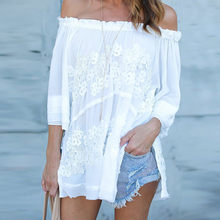 Women White Blouses 2017 Sexy Fashion Off Shoulder Lace Crochet Tunic Shirt Top Casual Loose Tops Blusas Camisas Plus Size(China)