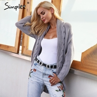Simplee Winter Knitted Sweater Cardigan Women Elegant Autumn Hollow Out Cardigan Female Turn Down Collar Gray