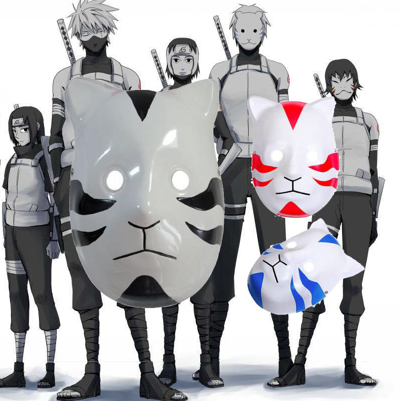 3 color Naruto Clan Kakashi Anbu Ninja Style Mask Fancy
