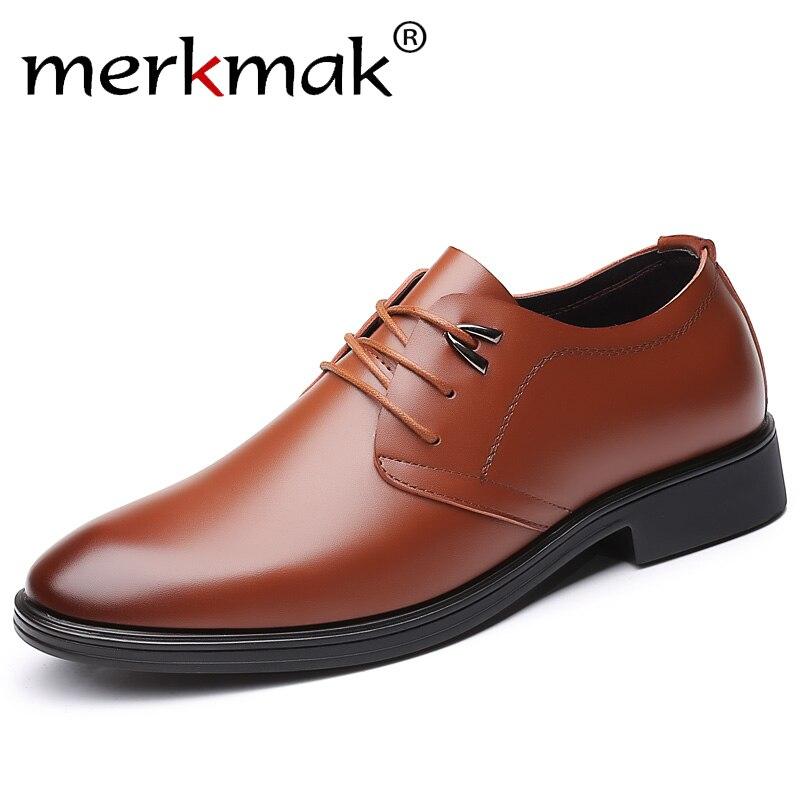 dec593519395 merkmak 2019 Leather Formal Men Shoes Fashion Men Low Heels Round Toe  Comfortable Office Dress Shoes Plus Size 37-47 Drop Ship