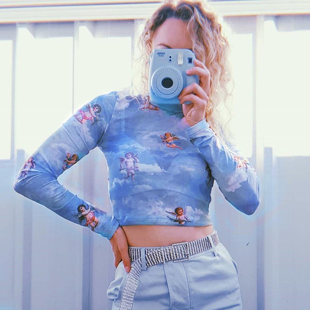 Harajuku Mesh Long Sleeve Crop Top T Shirt Vintage Kawaii Graphic Tees Women Sexy See Through Turtleneck Autumn Tee shirt see through angel shirt