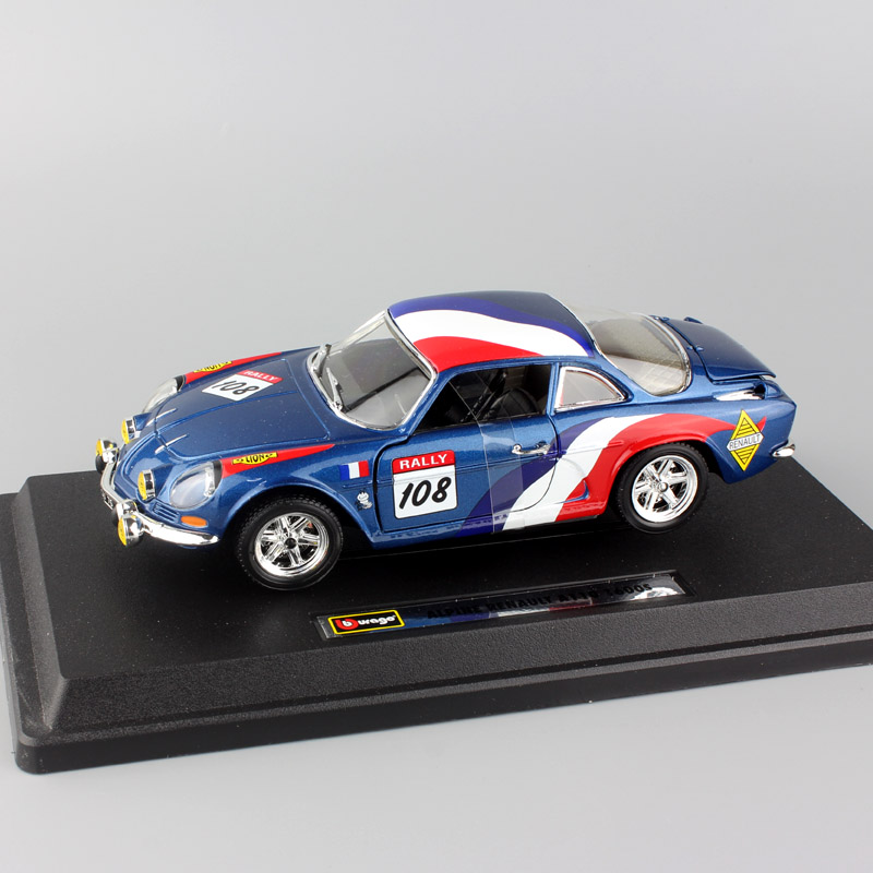 1:24 Scale BBurago Mini classic RENAULT Alpine A110 1600S Rally sports Monte Carlo WRC diecast model toy car for boys collection hasegawa model 1 24 scale civil models 20263 focus rs wrc 04 plastic model kit