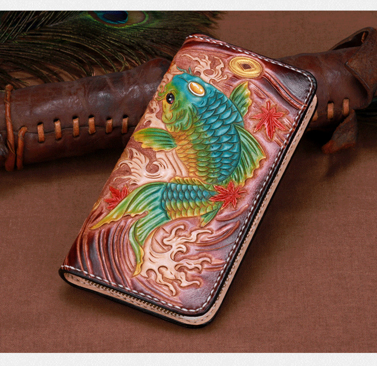 Genuine Leather Wallets Carving Copper Coin Carp Zipper Bag Purses Women Long Clutch Vegetable Tanned Leather Wallet Gift