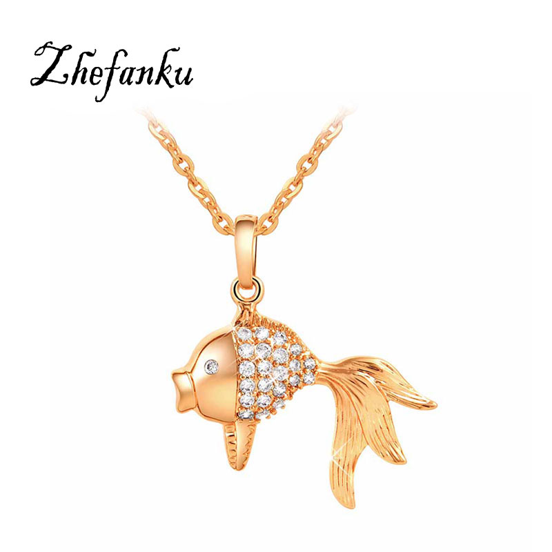 2017 Women Crystal Gold Color Fish Style Pendant Necklaces Lovely Austrian Link Chain font b Jewelry