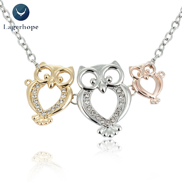 Exquisite Owl Necklace Women's Decorations Three-color Family Jewelry Alloy Meta