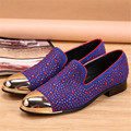 Moda Rhinestone Studded Flats Homens Preguiçosos Vestido de Noiva Shoes Slip On Casual Flat Shoes Mens Creepers Alpercatas